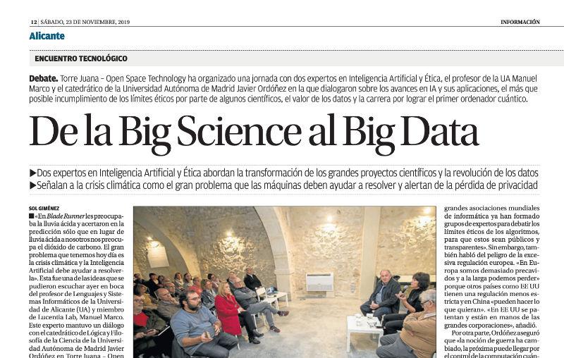 Debate sobre Inteligencia Artificial (de la Big Science al Big Data)