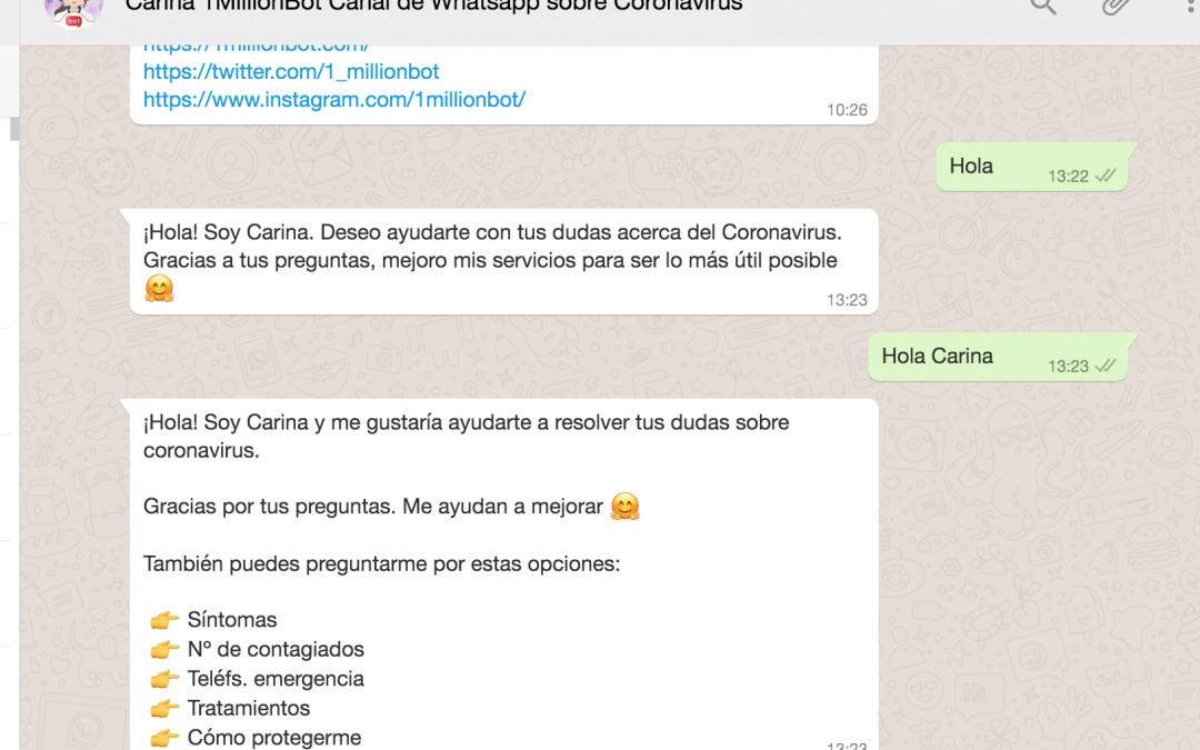 Carina, canal en Whatsapp para informar sobre Coronavirus