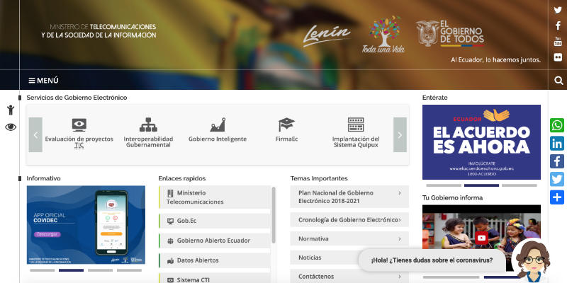 Carina ayuda a Ecuador a luchar contra el coronavirus