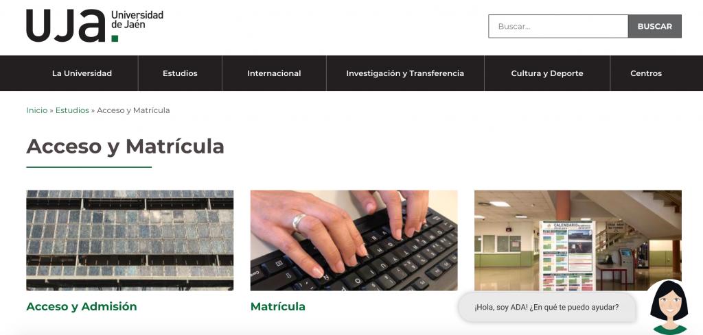 UJA: chatbot post-covid para estudios, acceso y matrícula a la universidad