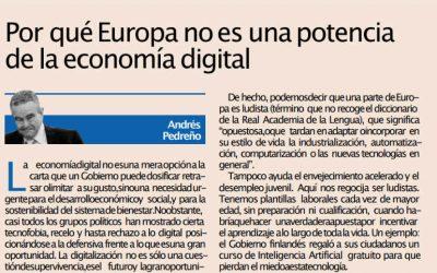Por qué Europa no es una potencia de la economía digital. Artículo en Expansión