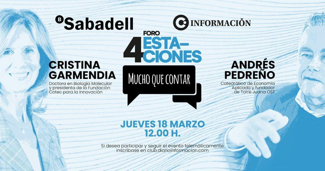 Cristina Garmendia y Andrés Pedreño- Foro 4 estaciones (Club INFORMACIÓN)
