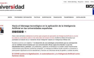 Universidad Sí. Hacia el liderazgo tecnológico en la aplicación de la Inteligencia Artificial en las universidades españolas
